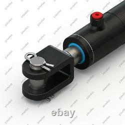 2 Bore, 12 Stroke, Hydraulic Welded Cylinder Clevis, Ports are 180° withPins