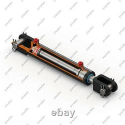 2 Bore, 14 Stroke, Hydraulic Welded Cylinder Clevis, Ports are 90° withPins