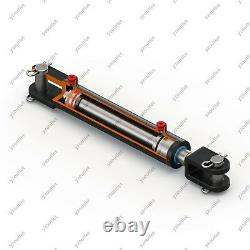 2 Bore, 8 Stroke, Hydraulic Welded Cylinder Clevis, Ports are 180° withPins