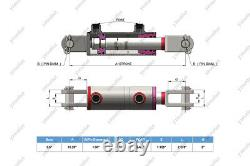 3.5 Bore, 36 Stroke, Hydraulic Welded Cylinder Clevis, Ports are 90° withPins