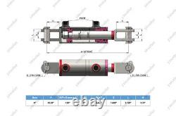 4 Bore, 28 Stroke, Hydraulic Welded Cylinder Clevis, Ports are 180° withPins