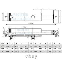 Hydraulic Cylinder For Loader Welded Double Acting 2 Bore 22.75 Stroke 2x22.75