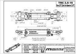 Hydraulic Cylinder Tie Rod Double Action 2.5 Bore 16 Stroke 2500 PSI 2.5x16