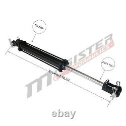 Hydraulic Cylinder Tie Rod Double Action 2.5 Bore 24 Stroke 2500 PSI 2.5x24