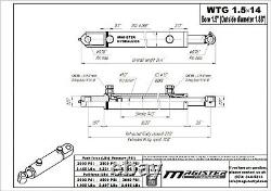 Hydraulic Cylinder Welded Double Acting 1.5 Bore 14 Stroke Tang 1.5x14 WTG NEW