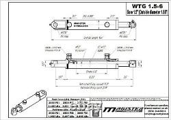 Hydraulic Cylinder Welded Double Acting 1.5 Bore 6 Stroke Tang 1.5x6 WTG style