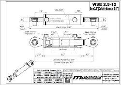 Hydraulic Cylinder Welded Double Acting 2.5 Bore 12 Stroke Swivel Eye 2.5x12