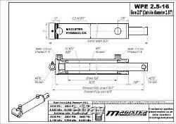 Hydraulic Cylinder Welded Double Acting 2.5 Bore 16 Stroke PinEye End 2.5x16