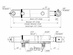 Hydraulic Cylinder Welded Double Acting 2.5 Bore 16 Stroke Tang WTG 2.5x16 NEW