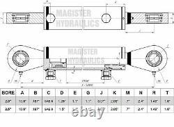 Hydraulic Cylinder Welded Double Acting 2.5 Bore 24 Stroke Swivel Eye 2.5x24
