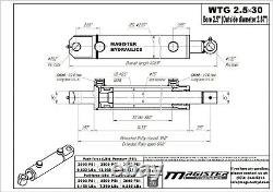 Hydraulic Cylinder Welded Double Acting 2.5 Bore 30 Stroke Tang WTG 2.5x30 NEW