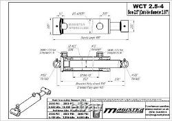 Hydraulic Cylinder Welded Double Acting 2.5 Bore 4 Stroke Cross Tube 2.5x4