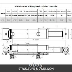 Hydraulic Cylinder Welded Double Acting 2 Bore 14 Stroke Cross Tube 2x14 SAE6