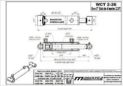 Hydraulic Cylinder Welded Double Acting 2 Bore 26 Stroke Cross Tube 2x26 NEW
