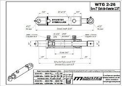 Hydraulic Cylinder Welded Double Acting 2 Bore 26 Stroke Tang 2x26 WTG NEW