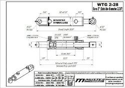 Hydraulic Cylinder Welded Double Acting 2 Bore 28 Stroke Tang 2x28 WTG NEW