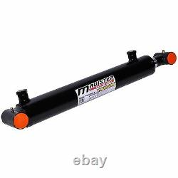 Hydraulic Cylinder Welded Double Acting 2 Bore 4 Stroke Cross Tube End 2x4 NEW