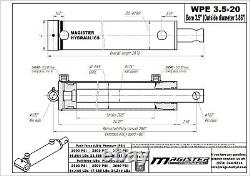 Hydraulic Cylinder Welded Double Acting 3.5 Bore 20 Stroke PinEye End 3.5x20