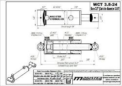 Hydraulic Cylinder Welded Double Acting 3.5 Bore 24 Stroke Cross Tube 3.5x24