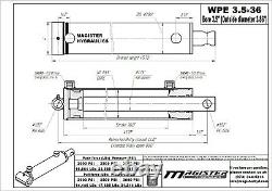 Hydraulic Cylinder Welded Double Acting 3.5 Bore 36 Stroke PinEye End 3.5x36