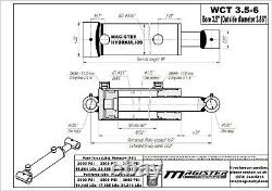 Hydraulic Cylinder Welded Double Acting 3.5 Bore 6 Stroke Cross Tube 3.5x6