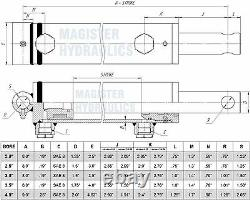 Hydraulic Cylinder Welded Double Acting 3.5 Bore 8 Stroke PinEye End 3.5x8
