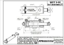 Hydraulic Cylinder Welded Double Acting 3 Bore 22 Stroke Cross Tube 3x22 NEW