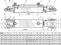 Hydraulic Cylinder Welded Double Acting 3 Bore 24 Stroke Clevis End 3x24 NEW