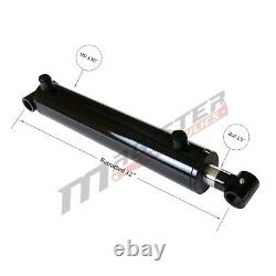 Hydraulic Cylinder Welded Double Acting 3 Bore 4 Stroke Cross Tube 3x4 NEW