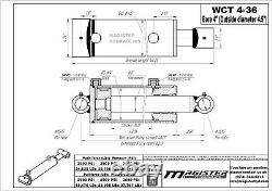 Hydraulic Cylinder Welded Double Acting 4 Bore 36 Stroke Cross Tube 4x36 NEW