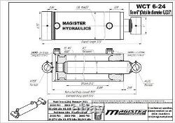Hydraulic Cylinder Welded Double Acting 6 Bore 24 Stroke Cross Tube 6x24 NEW