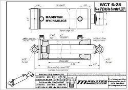 Hydraulic Cylinder Welded Double Acting 6 Bore 28 Stroke Cross Tube 6x28 NEW