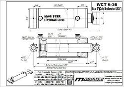 Hydraulic Cylinder Welded Double Acting 6 Bore 36 Stroke Cross Tube 6x36 NEW