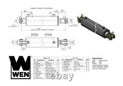 WEN CC4024 Clevis Hydraulic Cylinder with 4-inch Bore and 24-inch Stroke