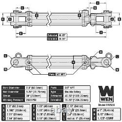 WEN TR2530 2500 PSI Tie Rod Hydraulic Cylinder with 2.5 Bore and 30 Stroke