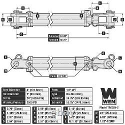 WEN TR4024-2 2500 PSI 2TR Tie Rod Hydraulic Cylinder with 4 Bore and 24 Stroke