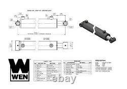 WEN WT2524 Cross Tube Hydraulic Cylinder with 2.5-inch Bore and 24-inch Stroke