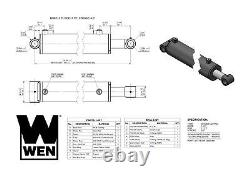 WEN WT3508 Cross Tube Hydraulic Cylinder with 3.5-inch Bore and 8-inch Stroke