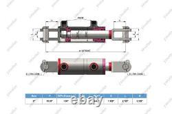 2 Bore, 18 Stroke, Cylindre Hydraulique Soudé Clevis, Ports Sont 180° Avecpins