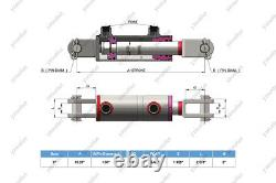 3 Bore, 36 Stroke, Cylindre Soudé Hydraulique Clevis, Ports À 90° Avecpins