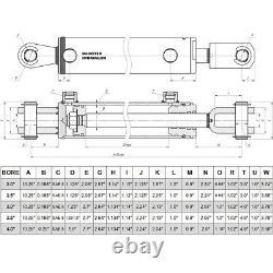 Ag Clevis Cylindre Hydraulique Soudé Double Action 2 Bore 8 Stroke Wbc 2x8 Asae