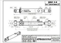 Ag Clevis Cylindre Hydraulique Soudé Double Action 2 Bore 8 Stroke Wbc 2x8 Nouveau