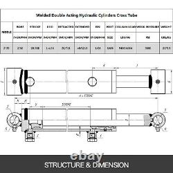Cylindre Hydraulique 2 Bore 20 Atteinte Cross Tube 2x20 Soudé Double Action