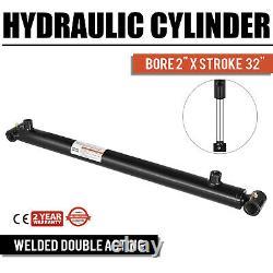 Cylindre Hydraulique 2 Bore 32 Stroke Double Action De Qualité Tube Croisé Noir