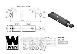 Cylindre Hydraulique À Tube Croisé Wen Wt4008 Avec Bore De 4 Pouces Et Coup De 8 Pouces