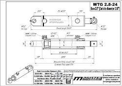 Cylindre Hydraulique Double Effet Soudés 2,5 Bore 24 Tang Stroke Wtg 2.5x24 Nouveau