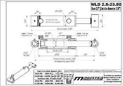Cylindre Hydraulique Pour Chargeur Double Effet 2,5 Bore 23,5 Stroke 2.5x23.5 Nouveau