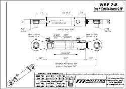 Cylindre Hydraulique Soudé Double Acteur 2 Alésage 8 Coups Pivotants Oeil Pivot 2x8 Nouveau