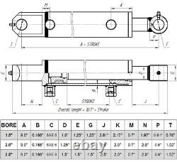 Cylindre Hydraulique Soudé Double Acting 1.5 Bore 6 Stroke Tang 1.5x6 Wtg Style