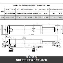Cylindre Hydraulique Soudé Double Action 2.5 Bore 28 Stroke Cross Tube 2.5x28